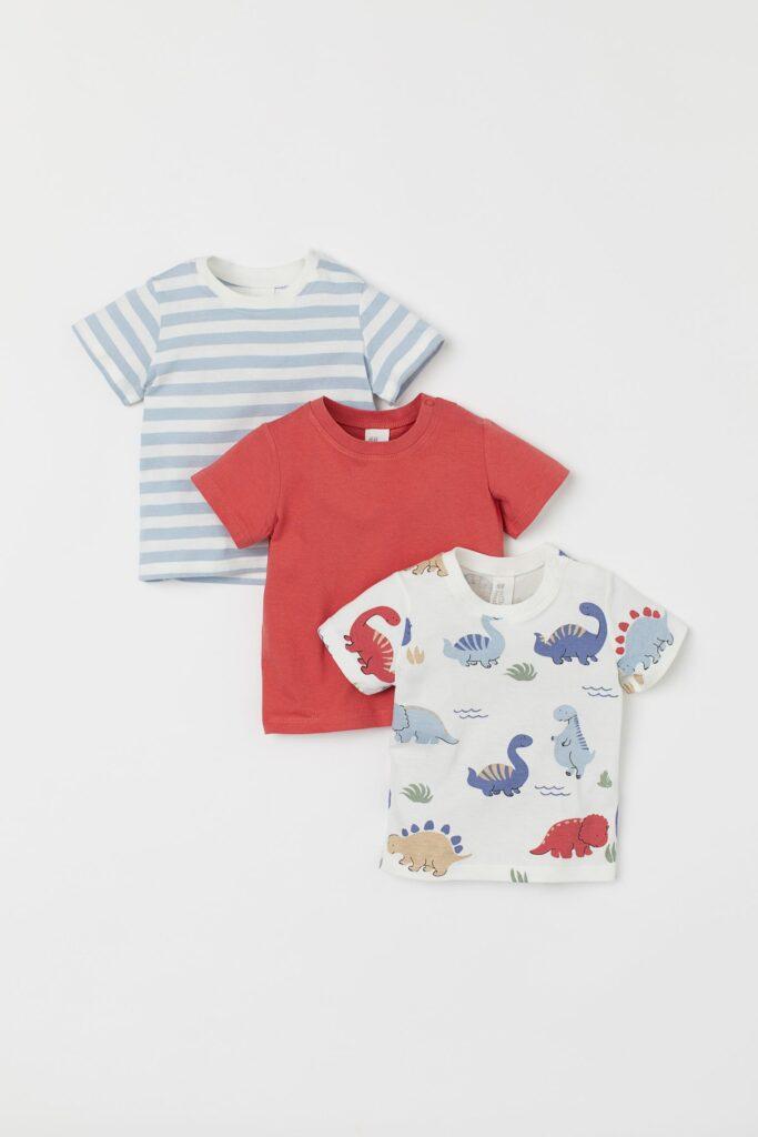 Lot de 3 t-shirts à motifs pour garçons avec dinosaures